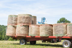 Loading and stacking round hay bales on a trailer for transport Royalty Free Stock Photography