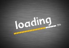 Loading. Status written on blackboard vector illustration