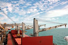 Loading terminal of coal products for cargo ships, bulkers and view of the cargo cranes loader.Australia?2018 royalty free stock photos