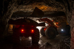 Loading truck with gold ore Stock Photo
