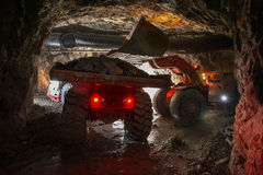 Loading truck with gold ore Royalty Free Stock Image