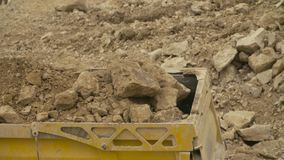 Loading of the truck in a quarry stock video footage