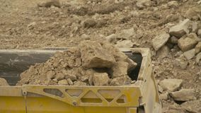 Loading of the truck in a quarry stock video