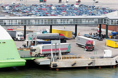 Loading of trucks onto ferry Star in Helsinki port Stock Photography