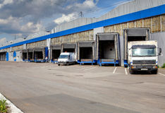 Loading and unloading area of warehouse, row of  loading docks Royalty Free Stock Images
