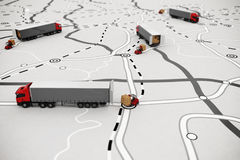 Loading and unloading goods on a map. 3D Rendering. Loading pallets of boxes on truck on a road map. Concept of global shipment and GPS tracking. 3D rendering stock illustration