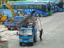 Loading and unloading iron frame Stock Photo