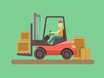Loading and unloading machine. Industry cargo equipment, forklift and delivery, shipping and loader, operator working. Flat vector illustration stock illustration