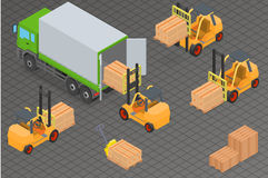 Loading or unloading a truck in the warehouse. Royalty Free Stock Photos
