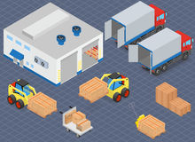 Loading or unloading a truck in the warehouse. Forklifts move the cargo. Stock Photography