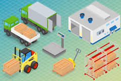 Loading or unloading a truck in the warehouse. Royalty Free Stock Image