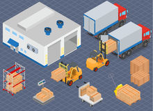 Loading or unloading a truck in the warehouse. Warehouse equipment. Stock Photography