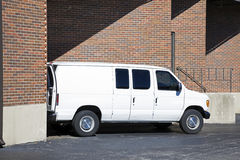 Loading Van. Loading white Van in the warehouse Stock Photography