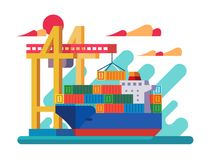 Loading vessel in port. Crane loads container on ship. Vector illustration Stock Photography