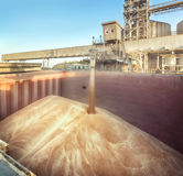 Loading of wheat on the ship Royalty Free Stock Photo