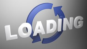 Free LOADING With Blue Rotating Arrows - 3D Rendering Illustration Royalty Free Stock Image - 155685466