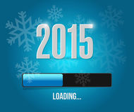 2015 loading year bar illustration. Design over a blue snowflakes background royalty free illustration