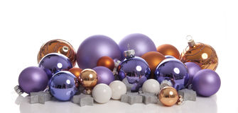 Loads of colorful Christmas balls. With silver stars taken in a studio stock photo