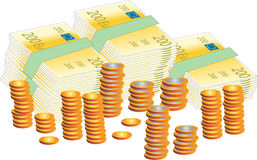 Loads of money. A vector illustration of piles of banknotes and stacks of coins Royalty Free Stock Image