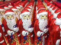 Loads of Santa Claus chocolate figurines Royalty Free Stock Photography