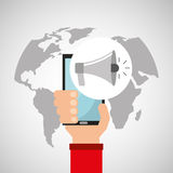 Рука проводит мультимедиа loadspeaker smartphone онлайн иллюстрация штока