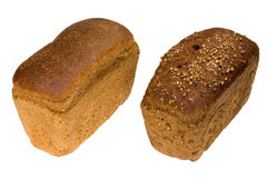 Loaf. Two loaves of bread, isolated on white, clipping path included Stock Images