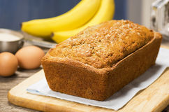 Loaf of Banana Bread with Ingredients Royalty Free Stock Photos