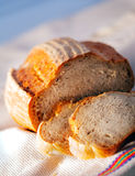 Loaf of bread. Delicious, fresh, home-made bread on white Stock Photography