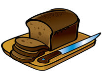 Loaf of Bread. Sliced Loaf of Bread and Knife Stock Photography