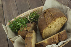 Loaf of bread in a basket Royalty Free Stock Photography