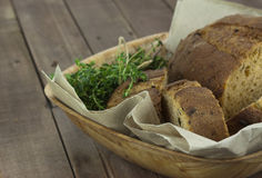 Loaf of bread in a basket Stock Photo