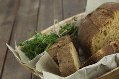 Loaf of bread in a basket Royalty Free Stock Photo