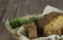Loaf of bread in a basket Stock Photography