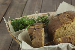Loaf of bread in a basket Royalty Free Stock Photos