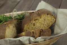 Loaf of bread in a basket Royalty Free Stock Image