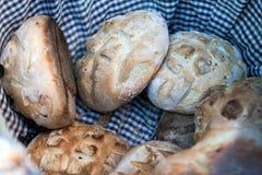 Loaf of bread in basket. Loaf of bread in wicker basket royalty free stock photography