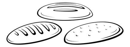 Loaf of Bread Black Pictograms. Food, Set Loaf of Bread Black Contour Pictograms on White Background. Vector royalty free illustration