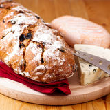Loaf of bread and French Cheese Royalty Free Stock Photo