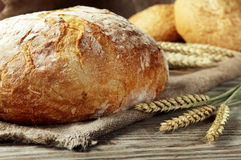 Loaf bread. Freshly baked loaf of homemade bread with wheat spikelets, lies on a wooden table. rustic style. closeup Royalty Free Stock Images