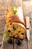 Loaf bread. With ham and olive Stock Photo