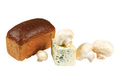 Loaf of bread, mushrooms and cheese Stock Photos