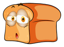 Loaf of bread with sad face stock illustration