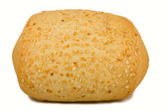 Loaf of bread with sesame. Isolated on white background stock photography