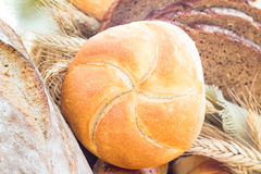 Loaf bread sliced crispy rolls Stock Images