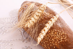 Loaf of bread on tablecloth Royalty Free Stock Photo