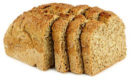A loaf of bread with three slices Royalty Free Stock Photography