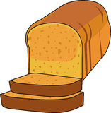 Loaf of Bread. With two slices cut Royalty Free Stock Images