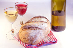 Loaf of bread with wine Stock Photo