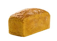 Loaf of brown bread. Isolated on white Royalty Free Stock Images