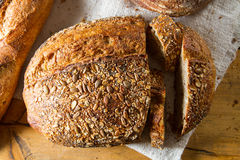 Loaf of brown multigrain bread Stock Photography